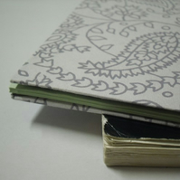 covered notebook- grey paisley