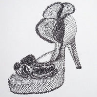 drawing -ruffles shoe- ink original  canvas