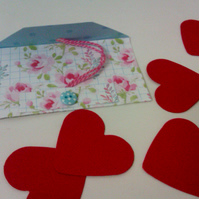 Valentine 5 reasons why I love you message hearts in a pretty mini envelope