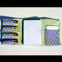 Purple & Green Polka Dots - Children's travel art case (incl crayons & pad)