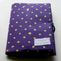 RESERVED FOR JEMMA: Children's travel art case - Polka dot purple (incl crayons & pad)