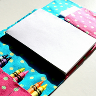 Children's travel art case - Polka dot pink (incl crayons & pad)