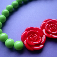 CHOKER Double Red Rose with Lime Green