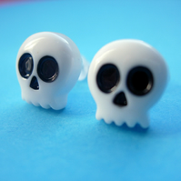 CUTE STUD EARRINGS Tiny White Skull Studs