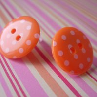 Spotty Button earrings ORANGE