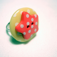 Peach and Pink Button Ring