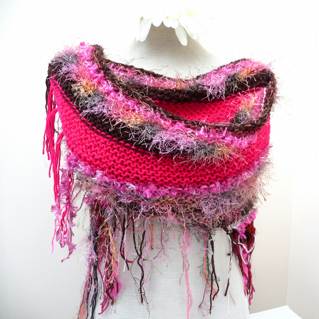 Shaggy Shawl - Pink and Brown