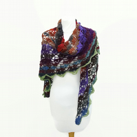 Bohemian Crochet Lace Shawl Purple Rust Green Gift for her