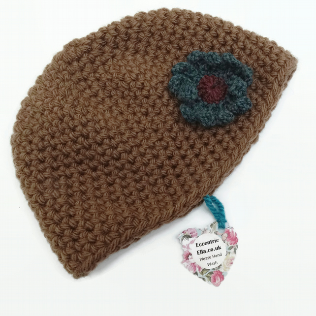 2 to 5 year Brown Crochet Hat with Flower