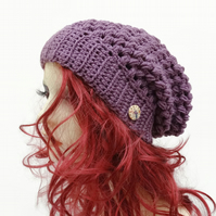 Unisex  Adult Crochet Slouchy Hat in Acrylic Dark Mauve