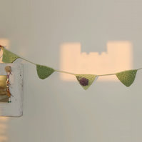 Green Crochet Bunting with Rose