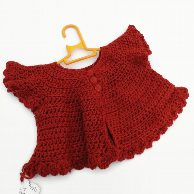 SALE Crochet Folksy Cardigan in Rusty Brown 3-6 months Baby