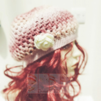 Adult Chloe Cap - Pinks with Cream Flower