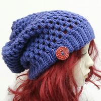 Unisex  Adult Crochet Slouchy Hat in Acrylic  Purple with Ceramic Button