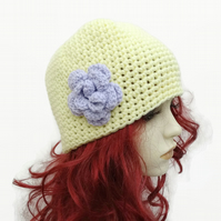 Adult Crochet Hat with Flower Detail Lilac Pastel Yellow