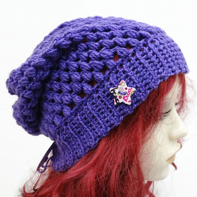 Adult Crochet Slouchy Hat in Acrylic Glitter Purple with Star Button
