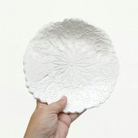 Doily Lace Dish Ceramic Cream