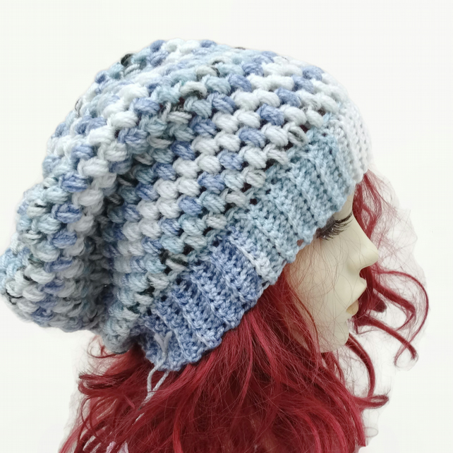 Unisex  Adult Crochet Slouchy Hat in White and Blue Speckles
