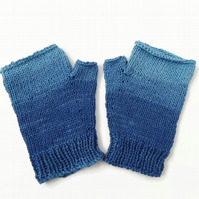 Blue shades  Yarn   Fingerless Gloves Mitts Knitted Cotton