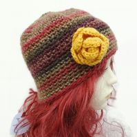 Adult Crochet Hat with Flower Detail Brown Yellow Mustard