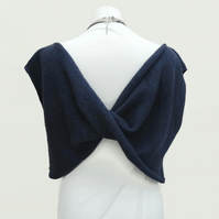 Flipside Knitted Top Navy Blue White Size 10-12 UK