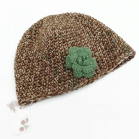 6 to 12 years Crochet Hat Brown Green