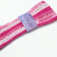 Adult Crochet Headband Pink White Cotton - Large 58cm