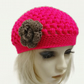Teen Crochet Chloe Hat Neon Pink Brown Small Adult