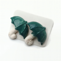 Small Green Ceramic Umbrella Earrings