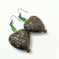 Green Earrings with Antique Bronze Hooks And Lightweight Pewter Hearts.