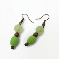Green Earrings with Antique Bronze Hooks