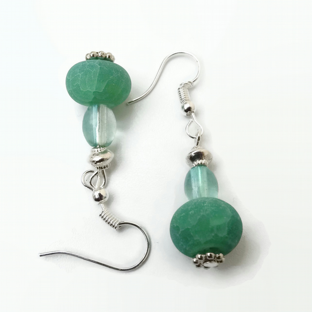 Turquoise and Green Earrings with Silver Plated Hooks
