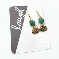 Green Earrings with Gold Plated Hooks