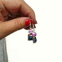Purple and Blue Earrings with Silver Plated Hooks
