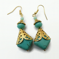 Turquoise Green Earrings with Gold Plated Hooks