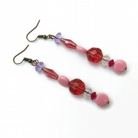 Long Pink Earrings with Antique Bronze Hooks