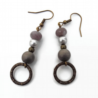 Grey Earrings with Bronze Hooks and Rings