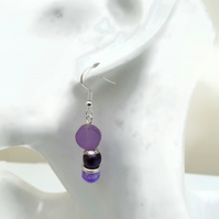 Pink and Purple  Earrings with Silver Plated Hooks