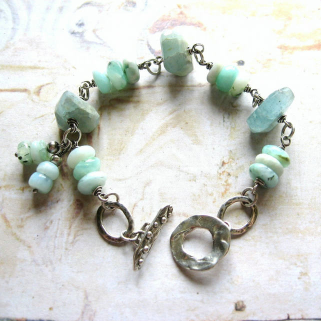 Sterling Silver Moss Aquamarine Peruvian Blue Opal Wire Wrapped Artisan Bracelet