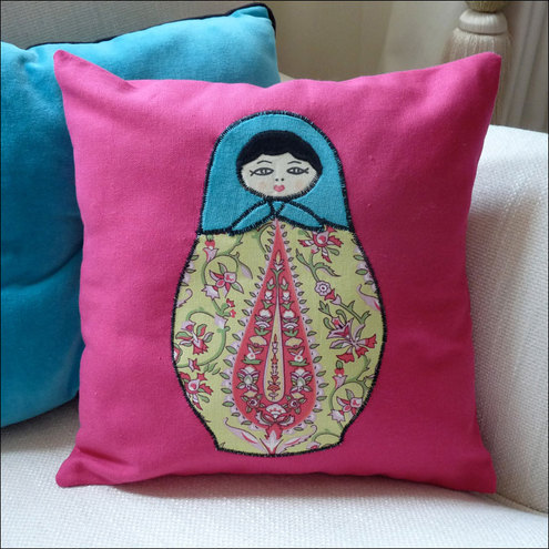 Appliqued Babushka Doll Cushion - Pink (AKS010)
