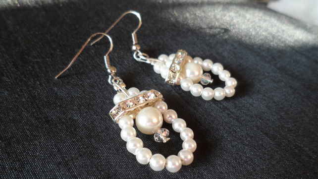 Vintage Style Pearl And Diamante Drop Earrings Wedding Bridesmaid Mothers Day