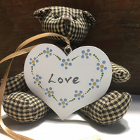 Hanging heart decoration - painted heart decoration - folk heart - flower heart