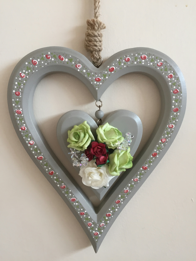 Painted wooden heart - hanging french grey heart - heart and flowers
