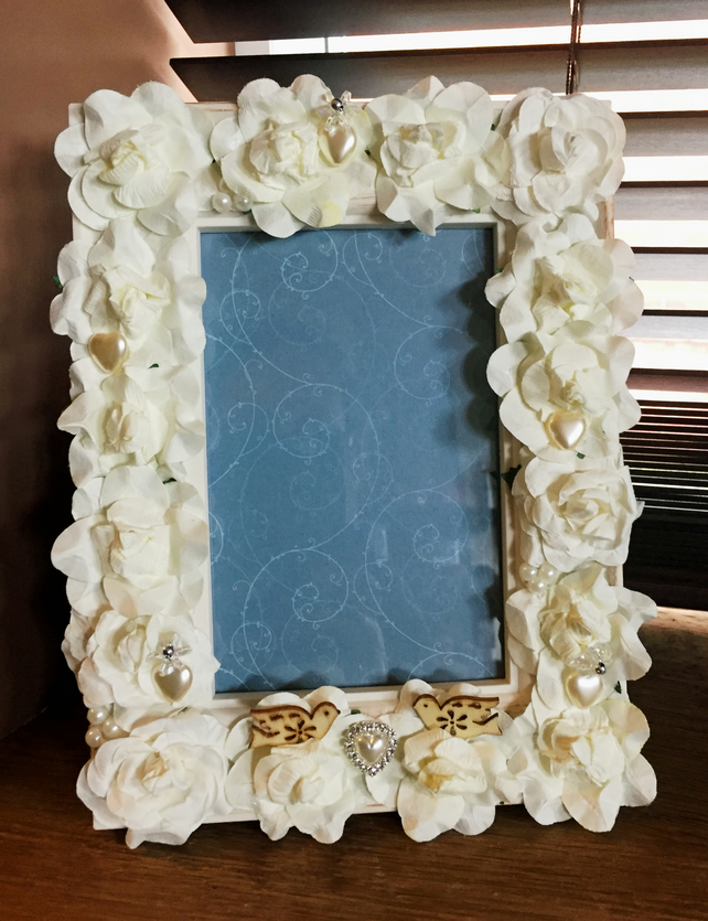 Wedding photo frame - hand decorated photo frame - altered picture frame