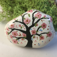 Tree of Life Stone - Painted Stone - Cherry Blossom