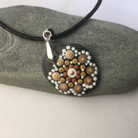 Gold Mandala Pendant - Pebble Pendant - Scared chakra necklace