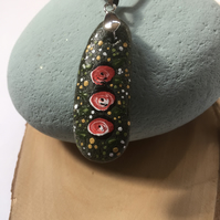 Rose Pendant - Stone Pendant - Rose necklace