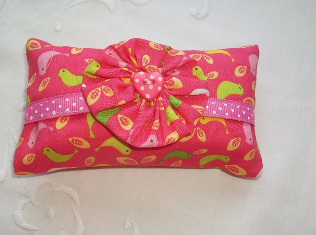 Pocket tissue holder - pink bird fabric