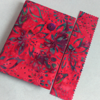A6 notebook with removeable fabric cover and matching bookmark - red batik
