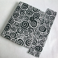 A6 notebook with removeable fabric cover and matching bookmark - black and white